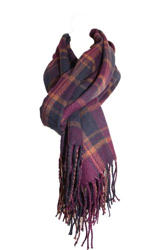 unisex womens ladies mens tartan long large scarf wrap pashmina shawl new,Purple & Navy images