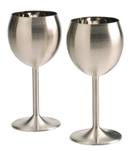 Rsvp 2 Set Stainless Steel Wine Glasses 8 Oz Red White Goblets Bar Patio Spa front-624920