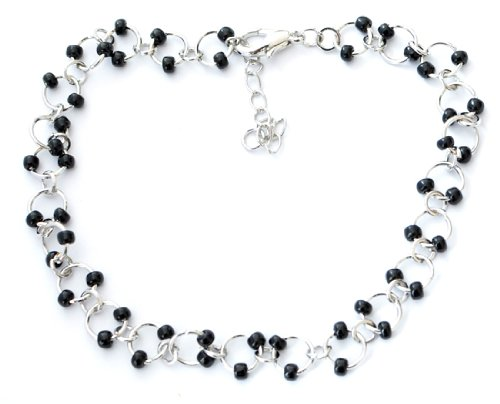 Silver Rings with Black Beads Charms Anklet/Ankle Bracelet