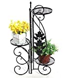 Black Folding Indoor Garden Herb Flower Planter Plant 3 Pots Pot Stand Stands Ornaments Cheap Metal for Indoor and Garden use