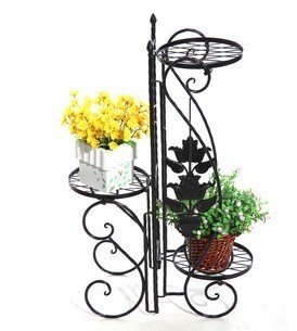 noir porte pot pots plante fleurs 3 etagere support jardin en m tal fer forge. Black Bedroom Furniture Sets. Home Design Ideas