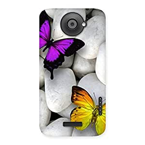 butterflies-white-stones Back Case Cover for HTC One X