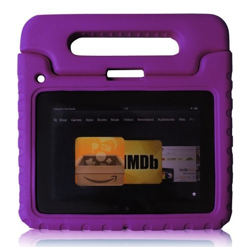 Carry360 Kids Safe Shock Proof Thick Foam Case Handle Stand For Ipad 2/3/4 With Handle(Color Purple)