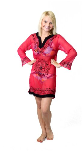 Copacabana Long Sleeve Embroidered Beach Tunic/Cover Up, L, Hot Pink
