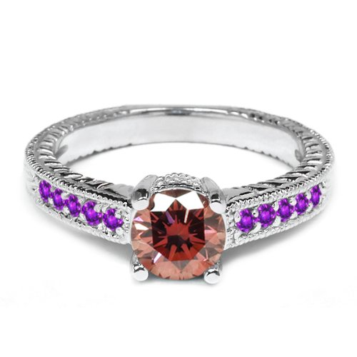 0.95 Ct Round Pink Diamond Purple Amethyst 18K White Gold Engagement Ring