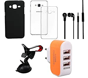 NIROSHA Cover Case Headphone Mobile Holder Charger for Samsung Galaxy ON5 - Combo