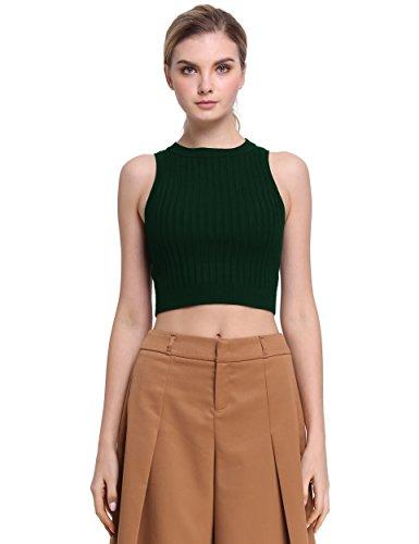 PrettyGuide Women Mock Neck Cable Rib Knit Racerback Crop Tank Tops Green M