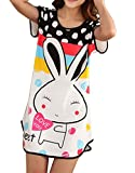 Columbustore Women's Cartoon Rabbit Nightshirts Cotton Chemises Slip Sleepwear Black 24