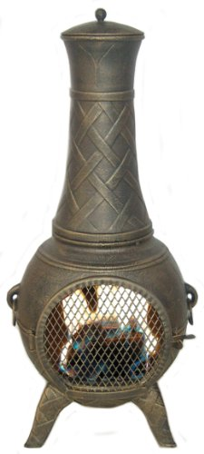 Deeco Cp Dm6035J-Aa Western Basket Weave Jr. Chiminea With Cast Aluminum, Spark Guard Screen