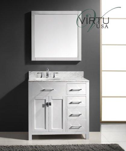 Virtu Usa Ms-2136R-Wmro-Wh 36-Inch Caroline Parkway Single Round Sink Bathroom Vanity, White