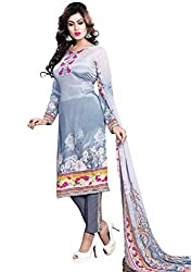 Justkartit Women's Unstitched Light Colour Resham Crepe Digital Printed Salwar suit Set / Part Wear Salwar Suit / Floral Print Salwar Kameez / Simple Dress Material