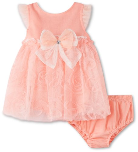 Nannettek Baby-girls Newborn 2 Piece comfort Knit Dress And Panty,Ripe Guava, 3-6 Months