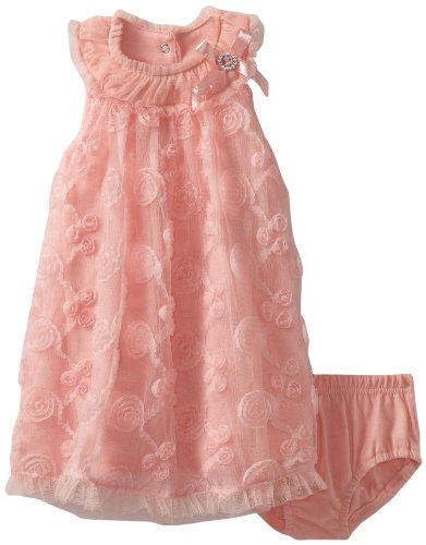 Nannette Baby-Girls Infant 2 Pieced Knit Dress & Panty, Guava, 12 Months