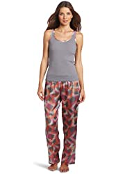 Dearfoams Women's Satin Trim Tank And Pant Pajama Set