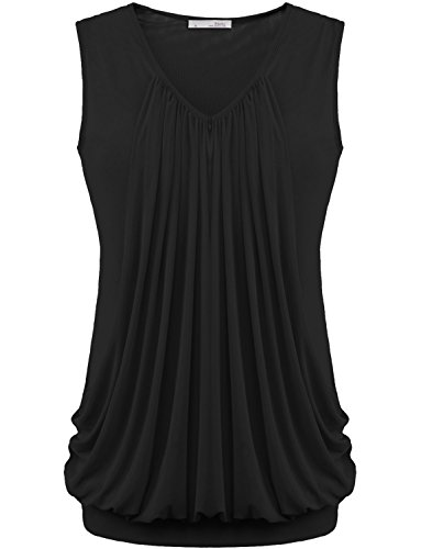 Womens Shirts, Messic V Neck Pleated Front No Sleeve Tunic Top Solid Color Black,Medium (Fancy Women Tops compare prices)