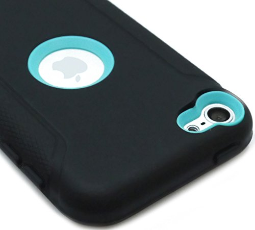 mySimple Drop Proof Hybrid Armor Design Case for iPod 5 with Built in Screen Protector & Simple Modern Sophisticated {Midnight Black and Light Teal Colors}