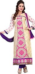 silvermoon fashion women's Georgette Embroderied Unstitched Dress Material -1039_Beige_Freesize