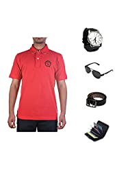 Garushi Red T-Shirt With Watch Belt Sunglasses Cardholder
