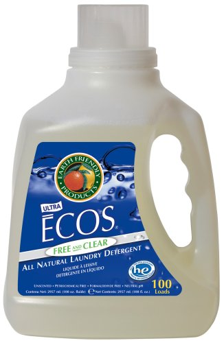 Earth Friendly Products Ecos Liquid Laundry Detergent  Free & Clear, 100-Ounce Bottle (Pack of 4)