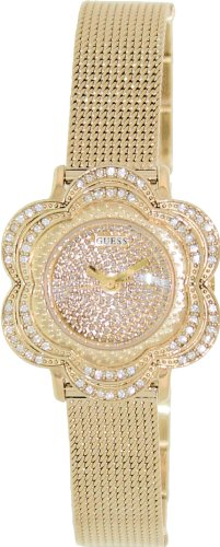 Guess U0139L2 Yellow Gold-Tone Floral Mesh Watch