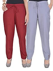 Kalrav Solid Maroon and Grey Cotton Pant Combo