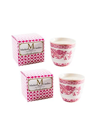 Market Street Candles Set of 2 Rose Scented Shanghai Dragon Candles, Pink