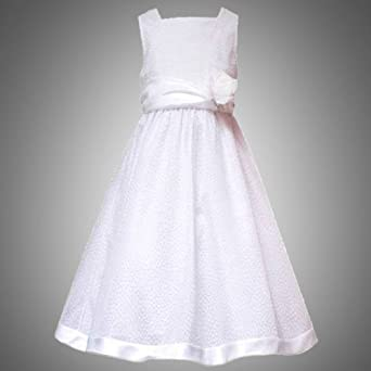 Amazon Size 16 RRE 4875E WHITE FLOCK DOT MESH OVERLAY Special Occasion First Communion