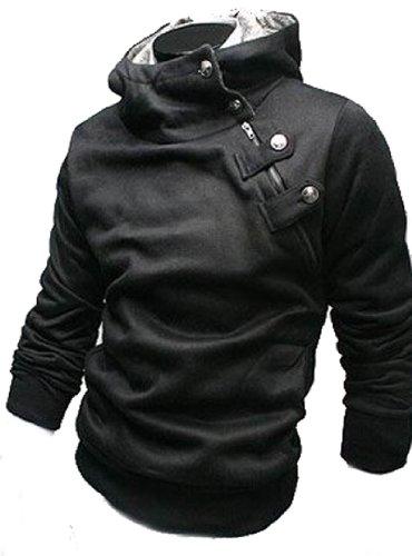 0cfc1b2bd5 Men s Winter Sweatershirts Jacket Coat Rabbit Fur Collar W03 (XL (US  Medium)