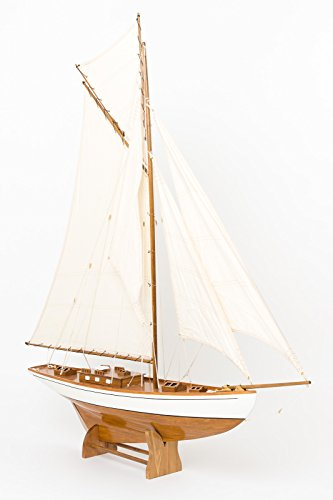 "Nautical memorabilia - solid model ship - yacht boat - wood - 4'5"" (135cm)"