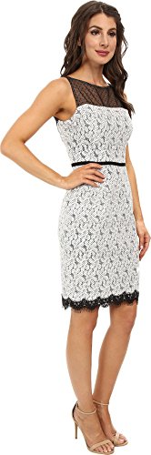 Maggy London Maggy London Women's Scroll Dot Lace Mixed Novelty Sheath Dress, White/Black, 12 B00P886ME2