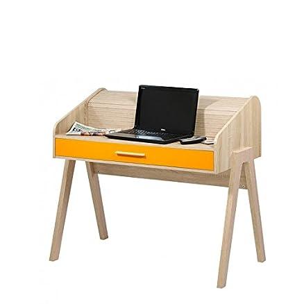 Simmob–Scrivania Vintage Tenda Quercia piedi Quercia cassetto colore–Colori delle porte e cassetti–Mandarino (Arancione)