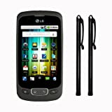 LG OPTIMUS ONE P500 CAPACITIVE TOUCHSCREEN STYLUS TWIN PACK - BLACK PART OF THE QUBITS ACCESSORIES RANGE