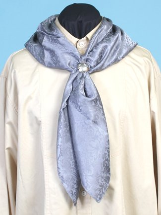 Victorian Men's Shirts- Wingtip, Gambler, Bib, Collarless Silk Scarf Grey One Size $35.16 AT vintagedancer.com