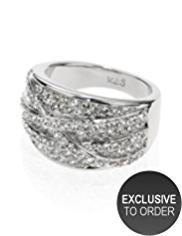 M&S Collection Platinum Plated Diamanté Overlayered Ring