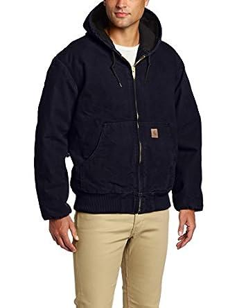Carhartt Men's  Quilt Flannel Lined Sandstone Active Jacket,Midnight,Small