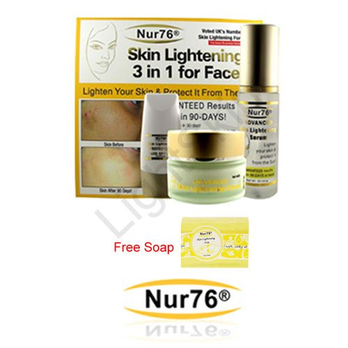 Nur76 Advanced 3 in 1 Skin Lightening + FREE Nur76 Skin Lightening Soap (150g) - 100% Money Back Guarantee!