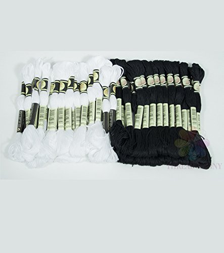ThreadNanny Black and White Embroidery Cross Stitch Threads Floss/skeins 24 of each color