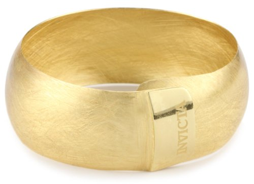 "Invicta ""Grazia"" Satin Finish 24k Yellow Gold-Plated Adjustable Bangle"