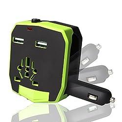 Chevron 2.1A Dual USB International Charger (Green)