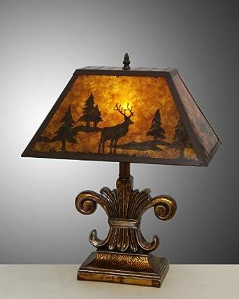 Western Mica Table Desk Lamp Moose Deer With Antler Forest