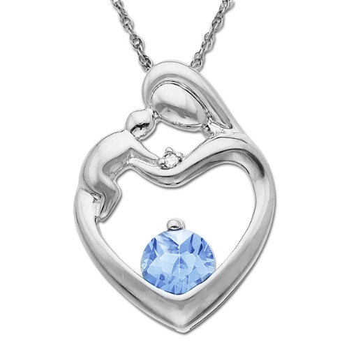 XPY 10k White Gold Blue Topaz Diamond-Accent Mother's Jewel Heart Pendant Necklace, 18