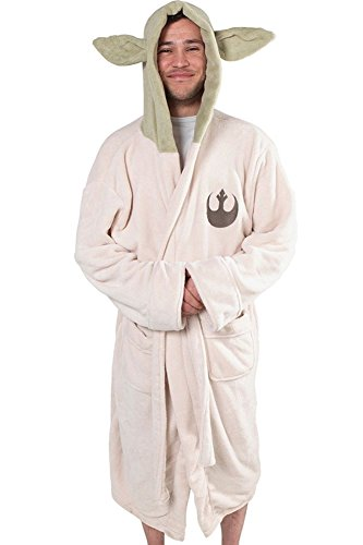 CosplaySky Star Wars Costume Yoda Robe Hooded Jedi Ears Fleece Bathrobe - Adult Size