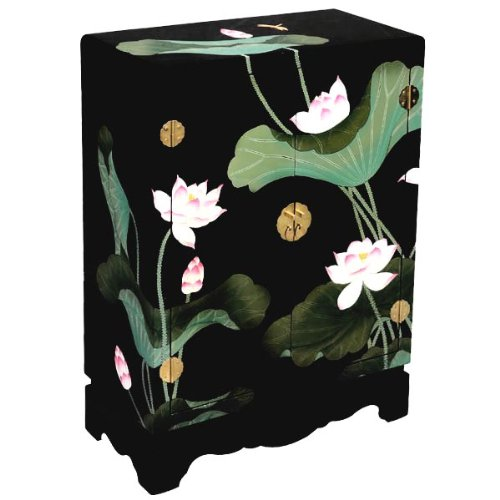 Cheap EXP Handmade Asian Furniture 33-Inch Black Lacquer Chinese Storage Cabinet/End Table with Lotus Flowers (frc1201)