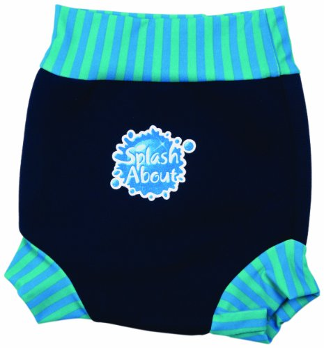 Splash About Kids Reusable Swim Nappy - THE Happy Nappy - Navy/Blue Lagoon Stripe Rib, XL, 12-24 Months