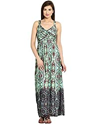 Ladybug Womens Pleated Georgette Maxi Dress- Green Print