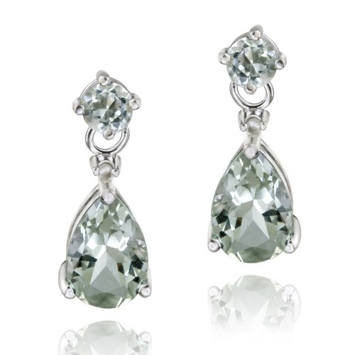 Sterling Silver 3ct Green Amethyst & Diamond Accent Teardrop Earrings