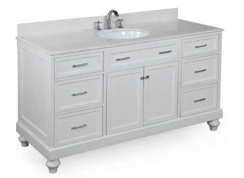 Amelia 60-inch Single Sink Bathroom Vanity (White/White): Includes a Solid Wood Cabinet, Soft Close Drawers, Self-Closing Doors, Natural White Marble Countertop, and Single Ceramic Sink