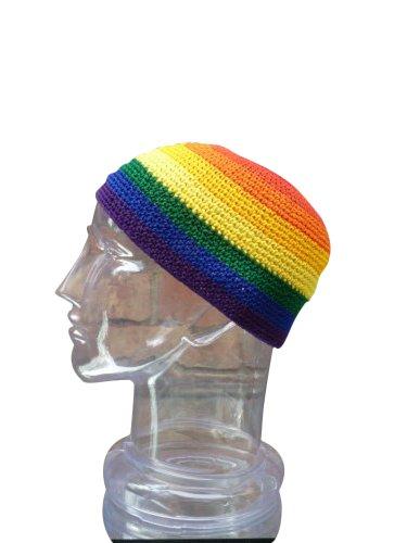 Inspirit Arts Medium Size Skull Cap Beanie, Rainbow Hand Made 100% Cotton, Crochet Knit Hat front-514161