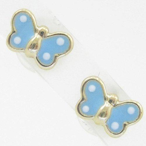 Ladies 14K solid gold earrings fancy stud hoop huggie ball fashion dangle swag blue small polkadot butterfly earrings
