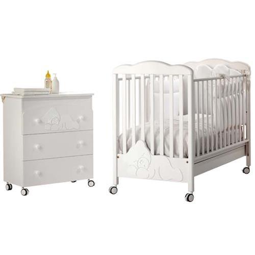 Lettino e Cassettiera Fasciatoio Baby Expert Coccolo Lux Bianco